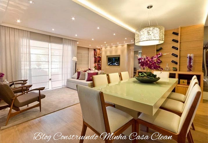 Como Usar Lustre Na Sala De Estar ~ 11 Pendente redondo branco elegante! Sala clara com mesa retangular
