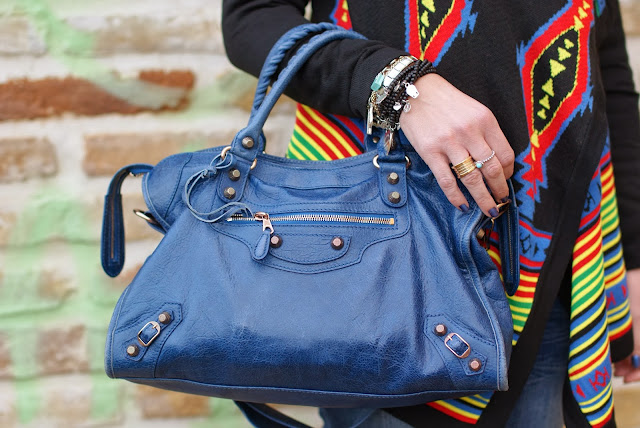 aztec print colorful cardigan, Balenciaga cobalt blu City bag, Fashion and Cookies, fashion blogger