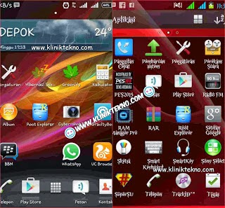 Tampilan Custom Rom Smooth Gamming Xperia T (Andromax C2 New JB)