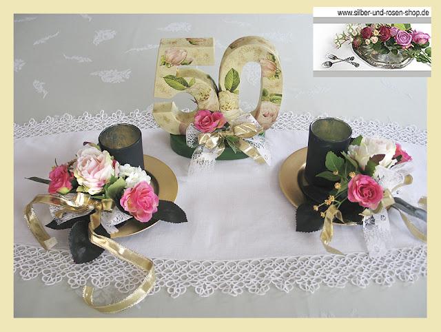 Silber die goldenen 50er the golden 50th tea time - Tischdeko geburtstag 50 ...