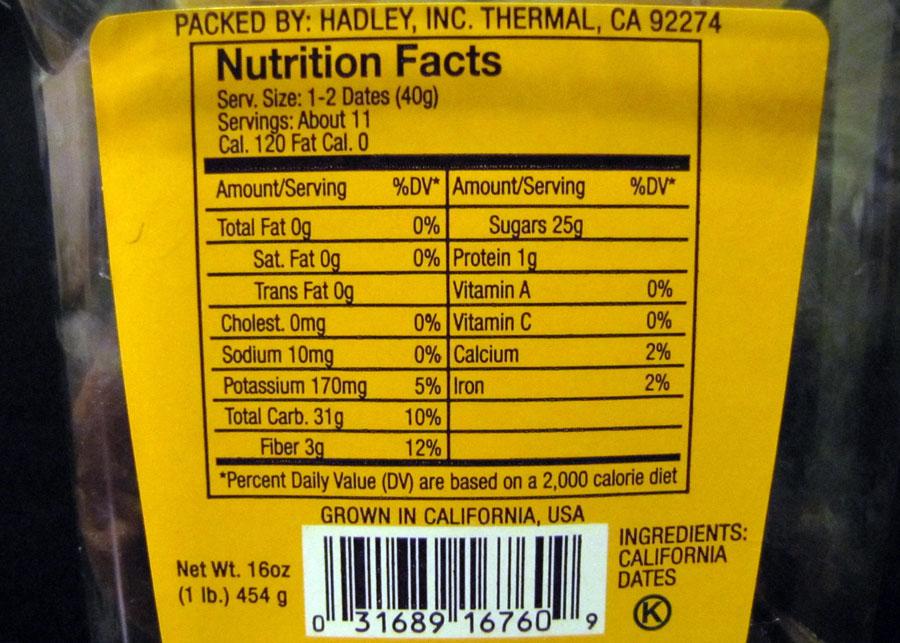 Dates nutrition information