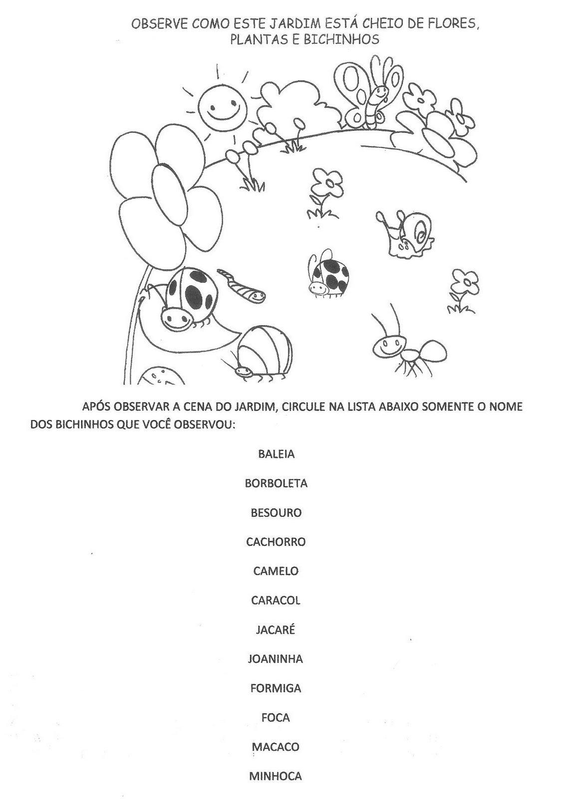 plantas de jardim lista:Projeto de de bichinhos de jardim – Atividades