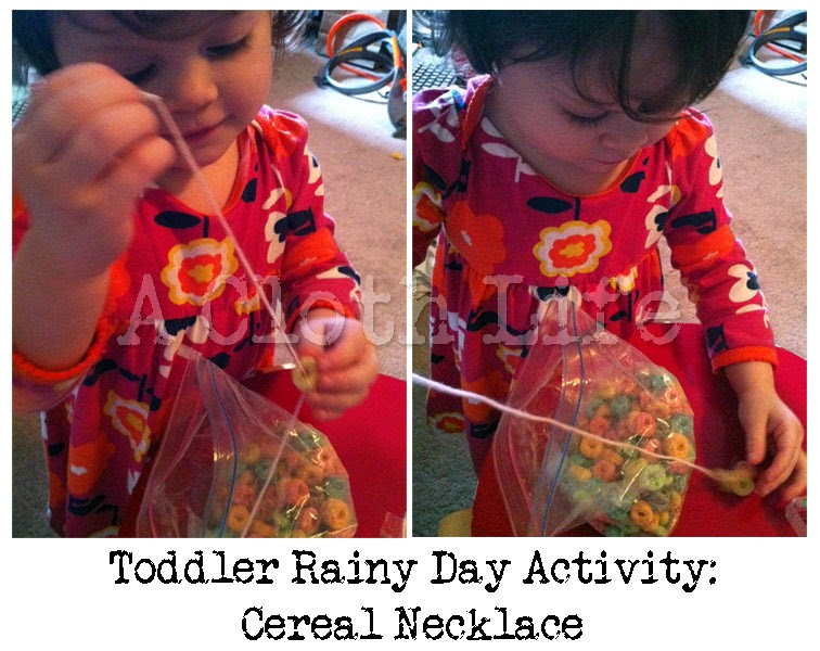 Rainy Day Toddler Activity: cereal necklace