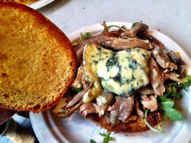 Duck brioche topped with blue cheese -  Real Food Market, South Bank, London