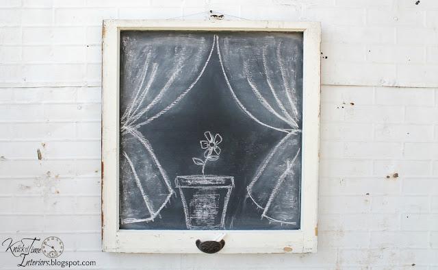 repurposed windows into chalkboards - KnickofTime.net