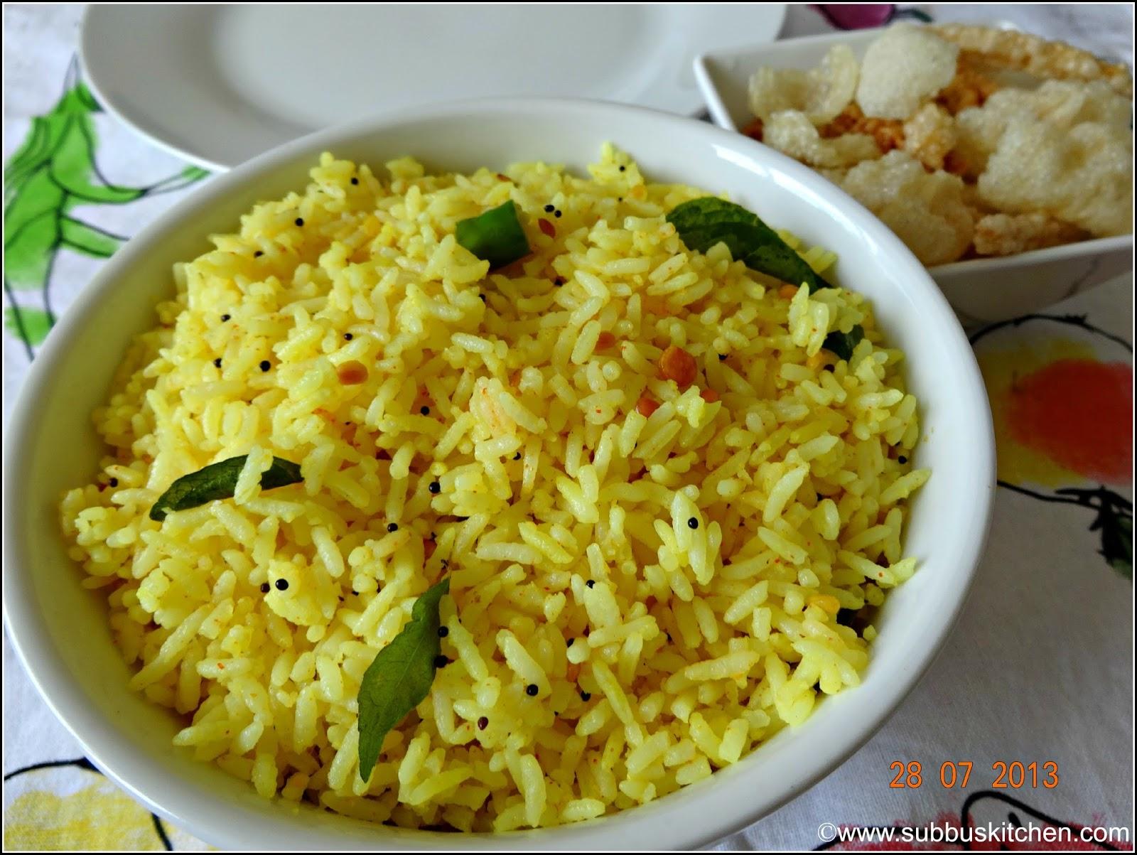 Lemon Rice Subbus Kitchen