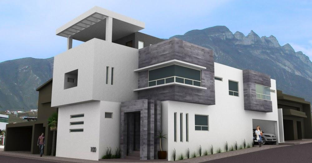 Fachadas de casas modernas residencia moderna en cumbres for Fachadas bonitas y modernas