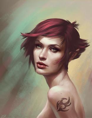 Ilustración de chica peli roja
