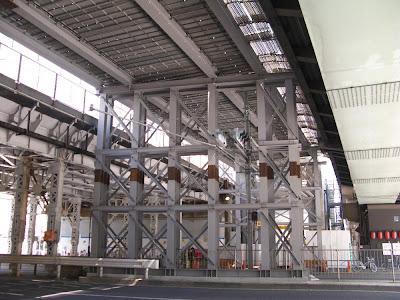 Underneath the Tohoku Jukan Line railway construction over Yasukuni-dori, Tokyo.
