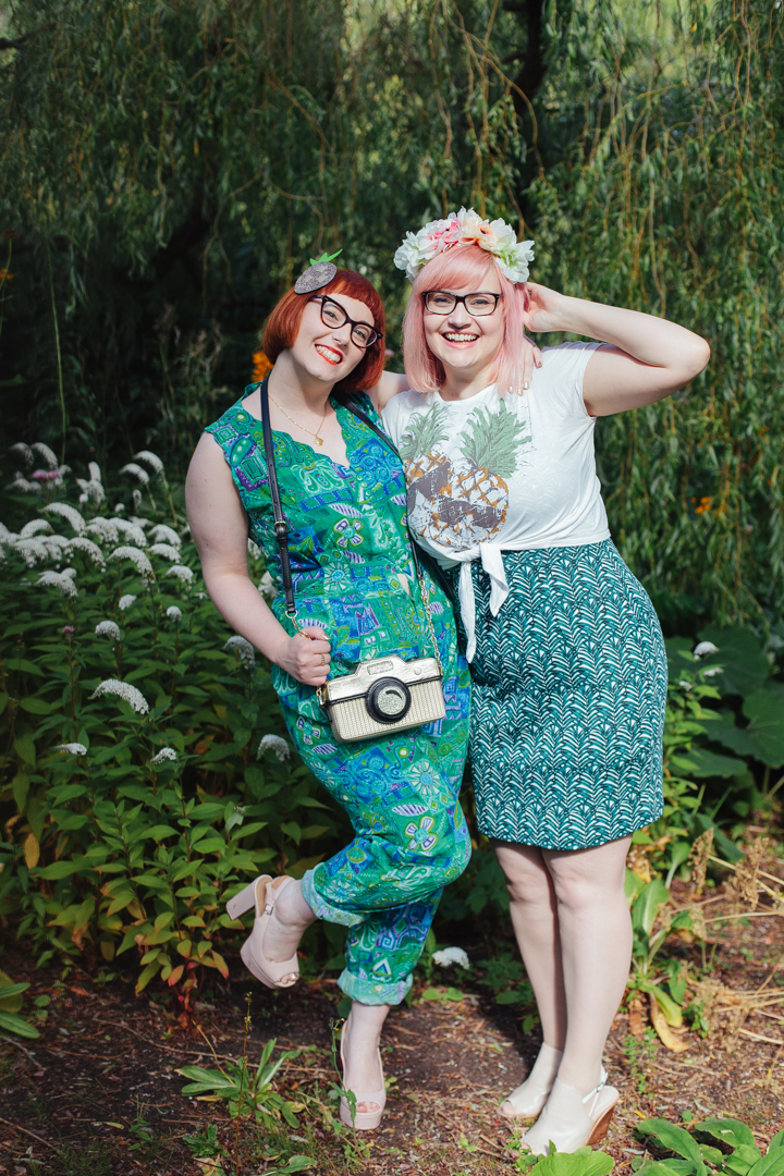 Edinburgh, Royal Botanic Gardens, Tropical style, summer style, jumpsuit, Nicely Eclectic, ebay sunglasses, Lucky Dip Club necklace, shell necklace, Accessorize camera bag, novelty handbag, Mint & Chillies, Mint and Chillies photography, girl gang, girl gang weekender, crazy jumpsuit, red head, ginger, Wardrobe Conversations, blogging duo, Scottish bloggers, Scottish blogging duo, Wardrobe Conversations blogging duo