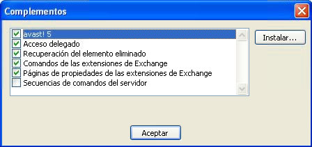 MS Outlook 2003: Complementos