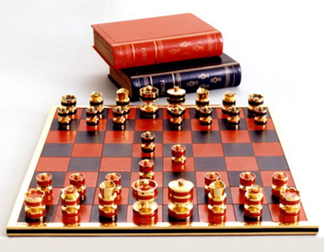 pure gold chessboard set designed by geoffrey parker