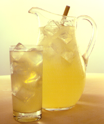 pitcher and glass of icy lemonade