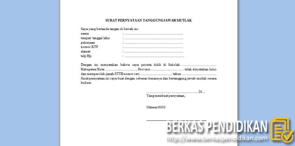 Format Surat Pernyataan Tanggung Jawab Mutlak Ijazah-STTB