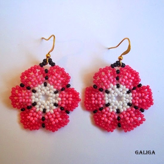 flower seed bead earrings - round colorful earrings - huichol style earrings-a set of three pairs