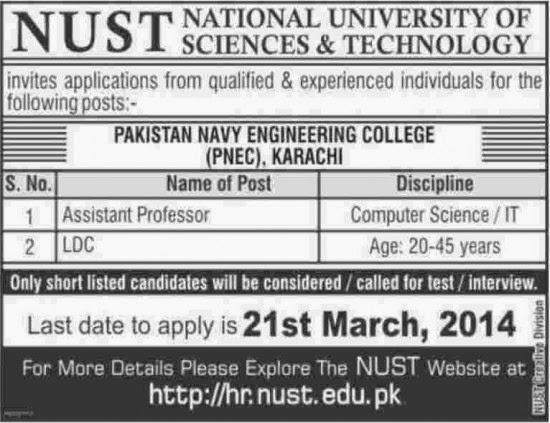 LDC and Assistant Professor Jobs in Pakistan Navy Engineering College, Karachi