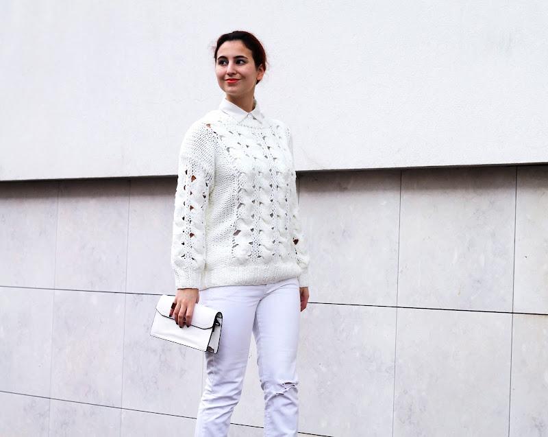 white outfit and smiling blogger