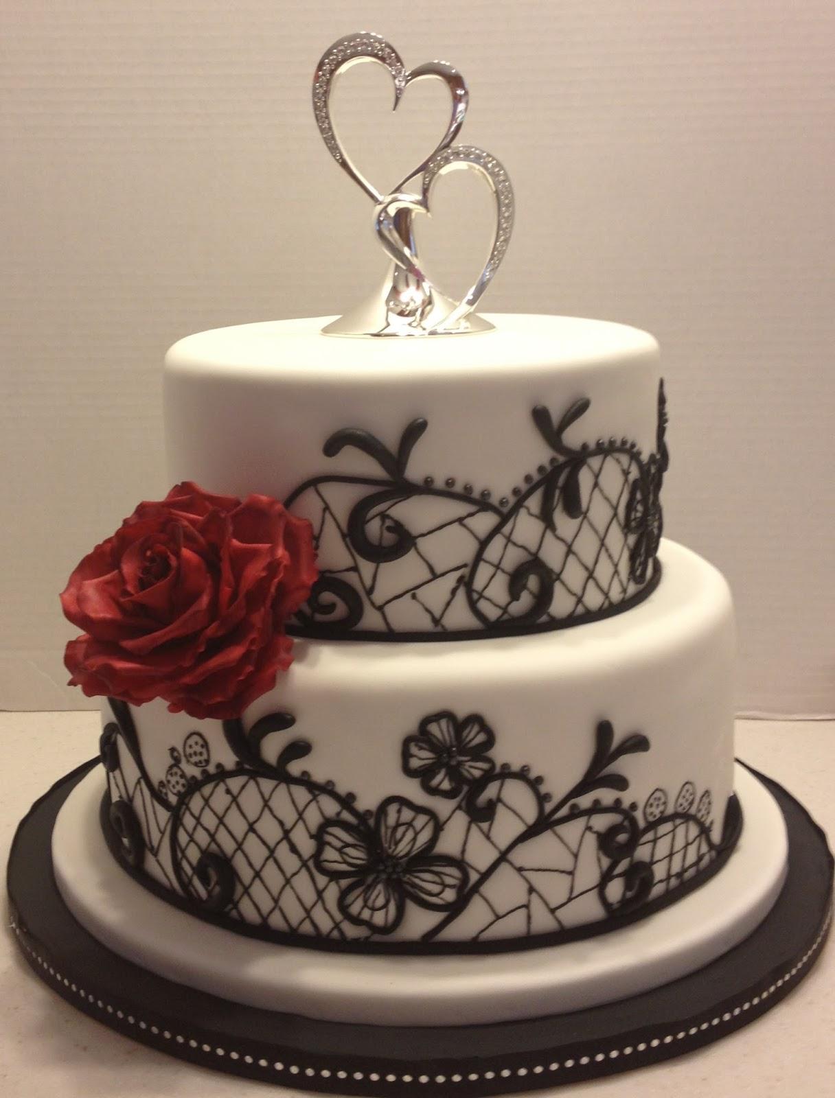 MaryMel Cakes: Black, white & red wedding