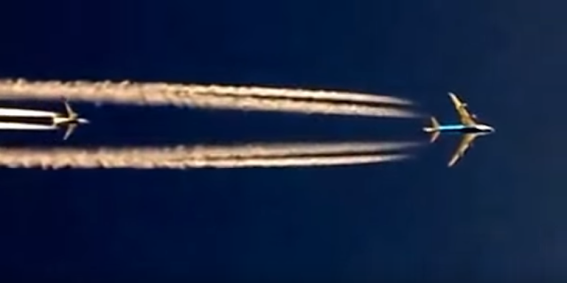 Captain Sreekumar was flying at 33,000 feet over Baghdad when he saw two planes flying overhead at different altitudes – a B747 at 35,000 feet and a B737 at 37,000 feet.  The video, filmed by him from a B777 cockpit, shows the larger B747 overtaking B737 with ease but in a mesmerising visual.