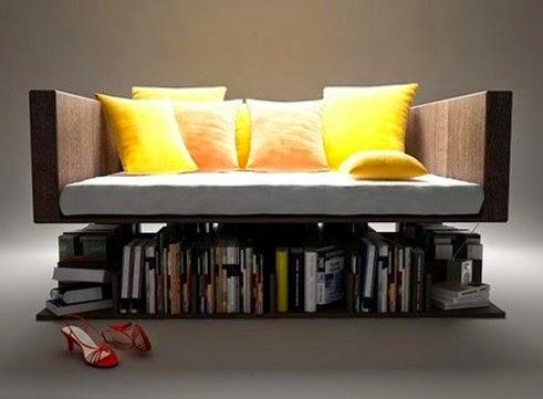 minimalist sofa with bookshelves