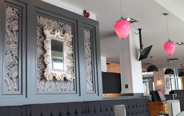 grey and pink glamorous interior of Slug and Lettuce bar and restaurant in Cardiff