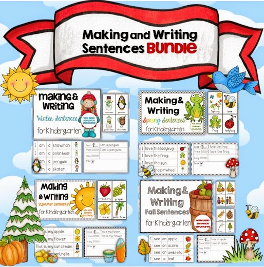 Making and Writing Sentences BUNDLE for all four seasons for Pre-K and Kindergarten students, includes vocabulary cards