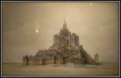 Une vue du mont saint Michel, projet d'élévation, expo reve de MOnuments La conciergerie Paris