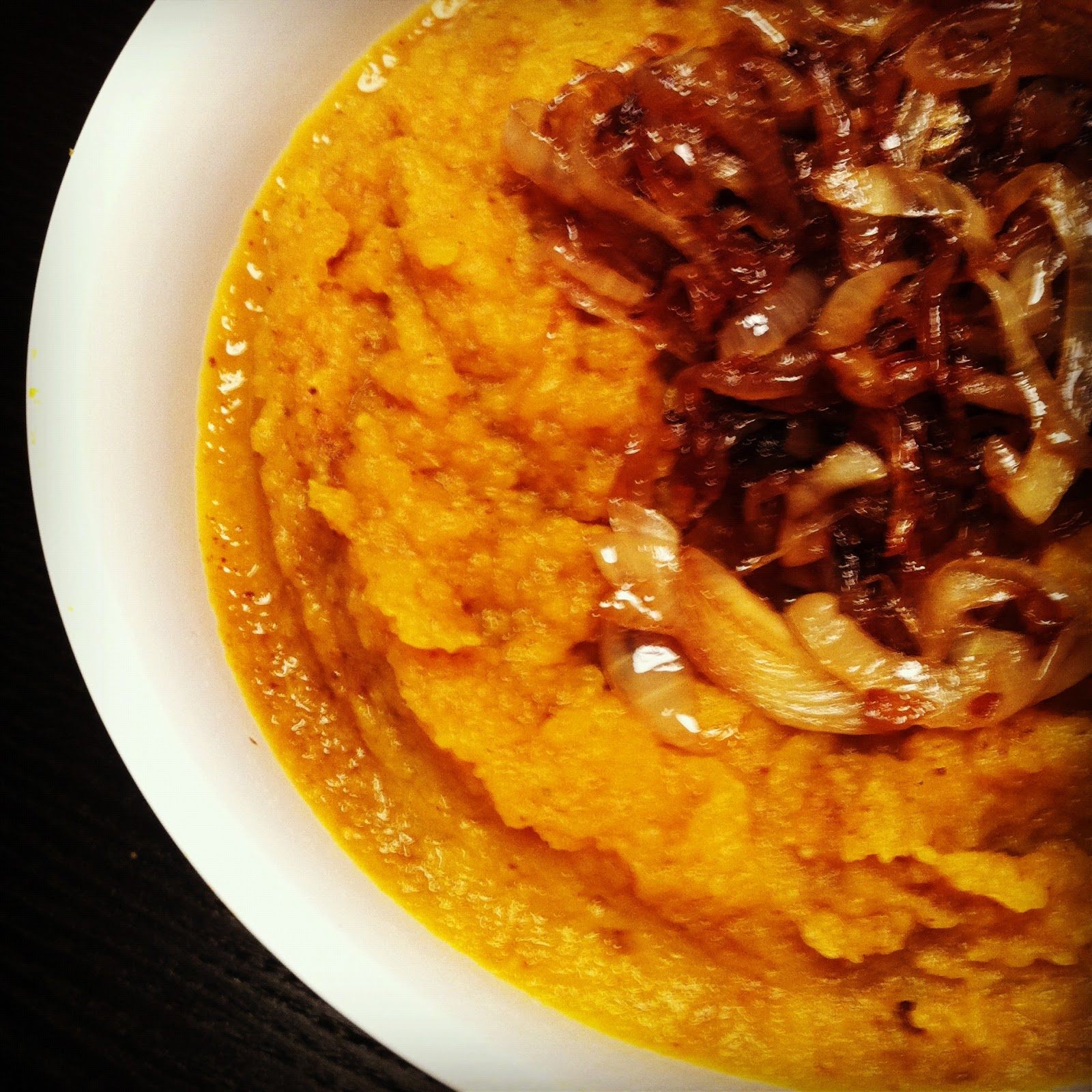Farshicle: Sweet Potato and Pumpkin Mash with Caramelized Onions