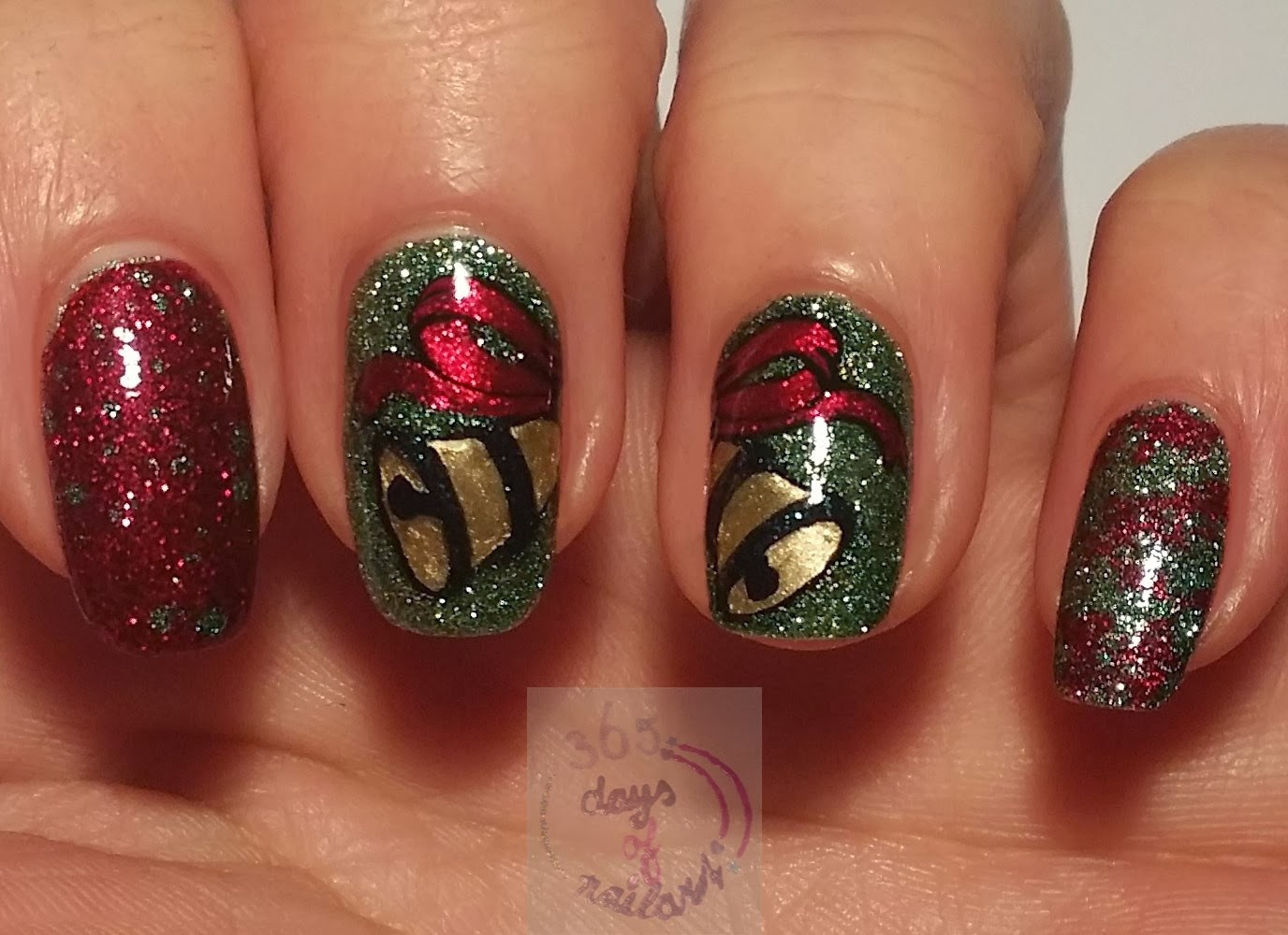 365+ days of nail art: Day 333) Water spotted Christmas nails
