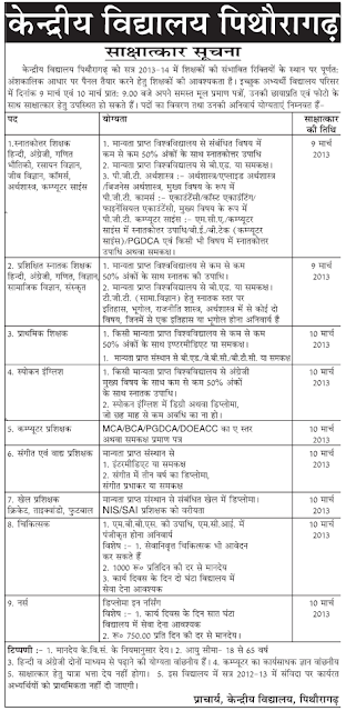KV Pithoragarh jobs image
