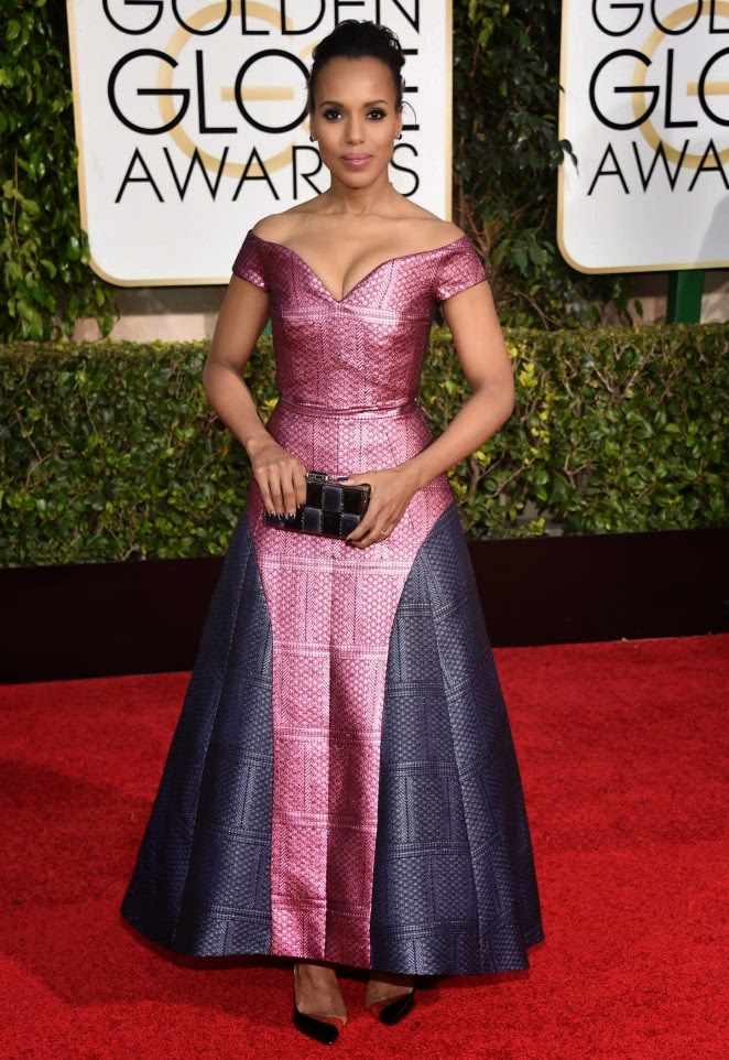 Kerry Washington shows off cleavage at the 2015 Golden Globes