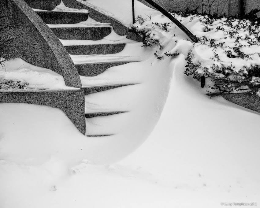State Street snowy stairway Portland, Maine black and white winter photo from January 2015 photo by Corey Templeton