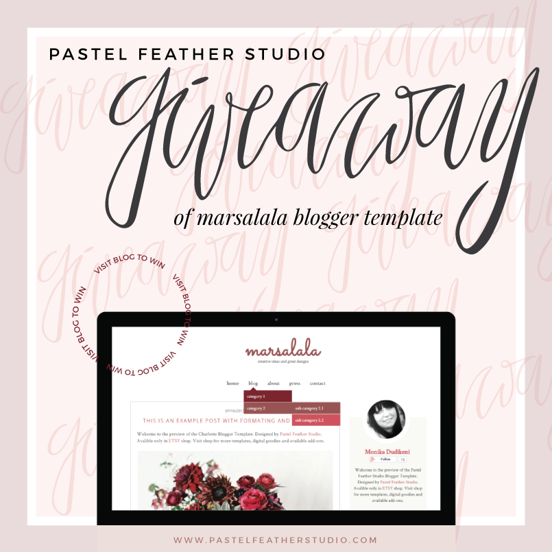 Ended giveaway marsalala blogger template p stel feather studio for Photography blogger templates