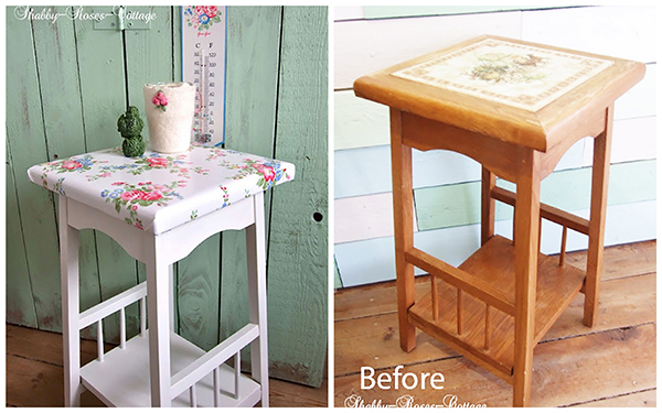 This fabulous plant stand type table is beautiful! I have a plant stand from ikea that I'm tempted to cover now at the top, with some oilcloth fabric perhaps. Via Shabby Roses Cottage