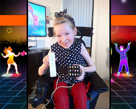 Ellie with her light-weight Wii remote, on long term loan from Accessible Gaming charity, SpecialEffect.