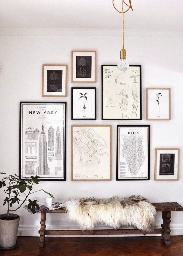 framed black and white maps for gallery wall
