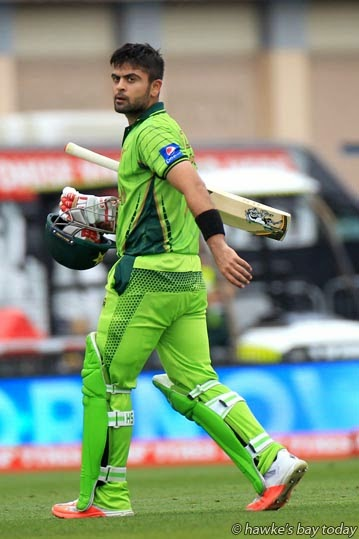 Ahmad Shehzad, Pakistan, run out - Pakistan vs UAE United Arab Emirates - ICC World Cup Cricket at McLean Park, Napier. photograph