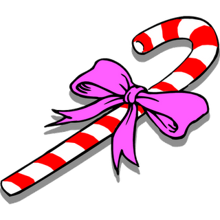 red and white candy cane Christmas decoration with flowers clip art image