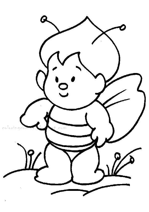 Bee Coloring Page high resolution
