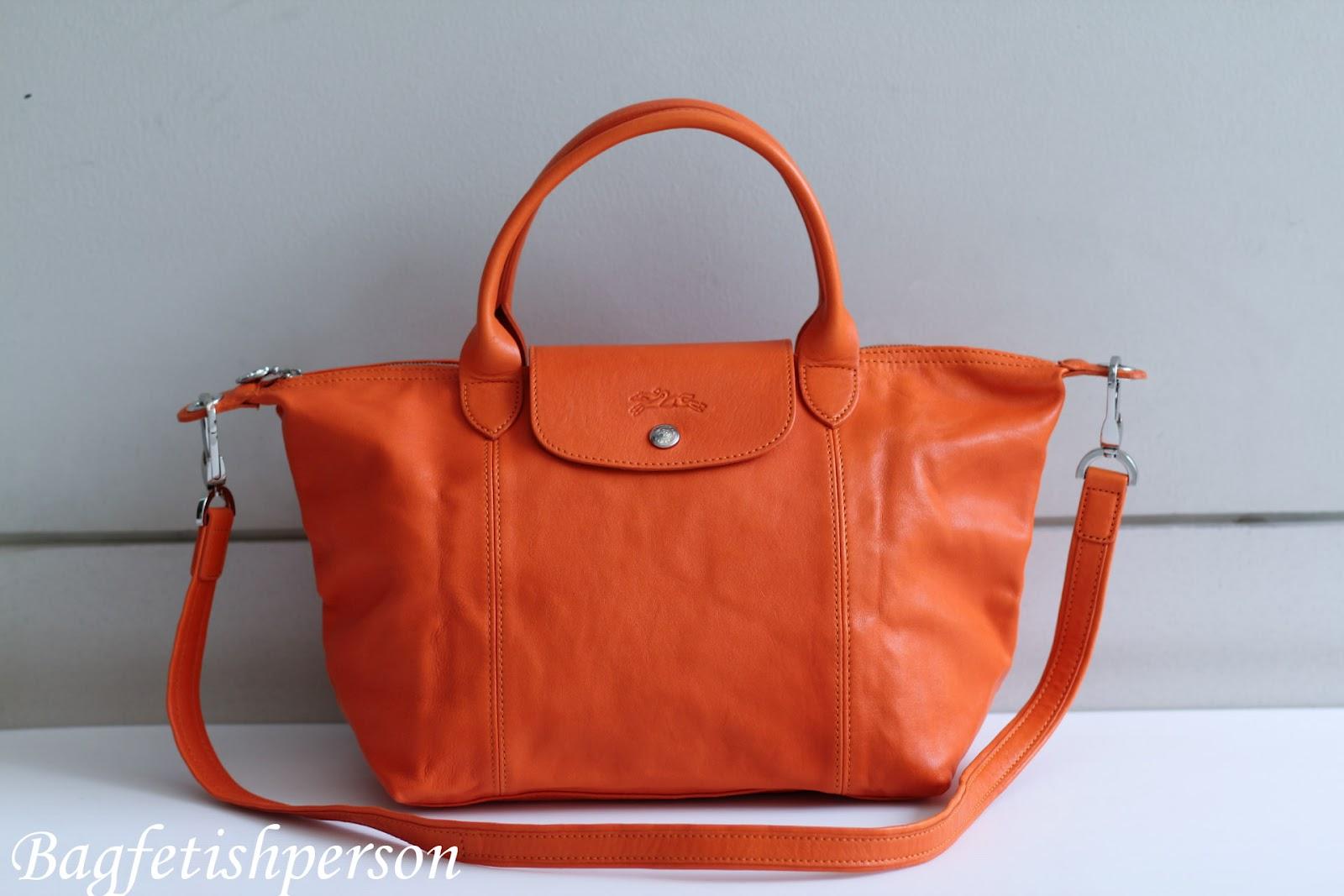 bagfetishperson longchamp le pliage cuir orange. Black Bedroom Furniture Sets. Home Design Ideas