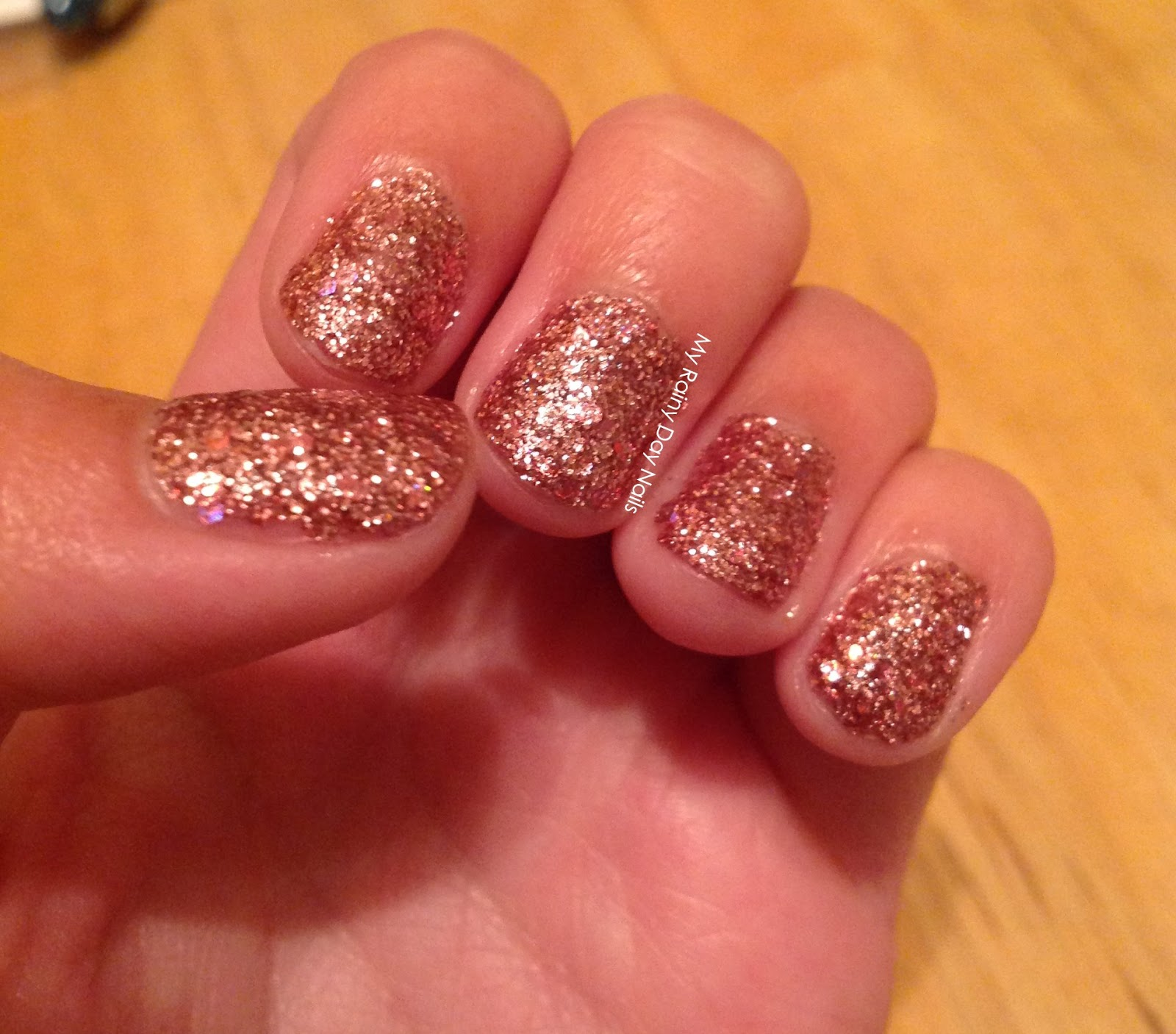 Rose Gold Nail Glitter: My Rainy Day Nails: Double Post With Rose Gold Glitter