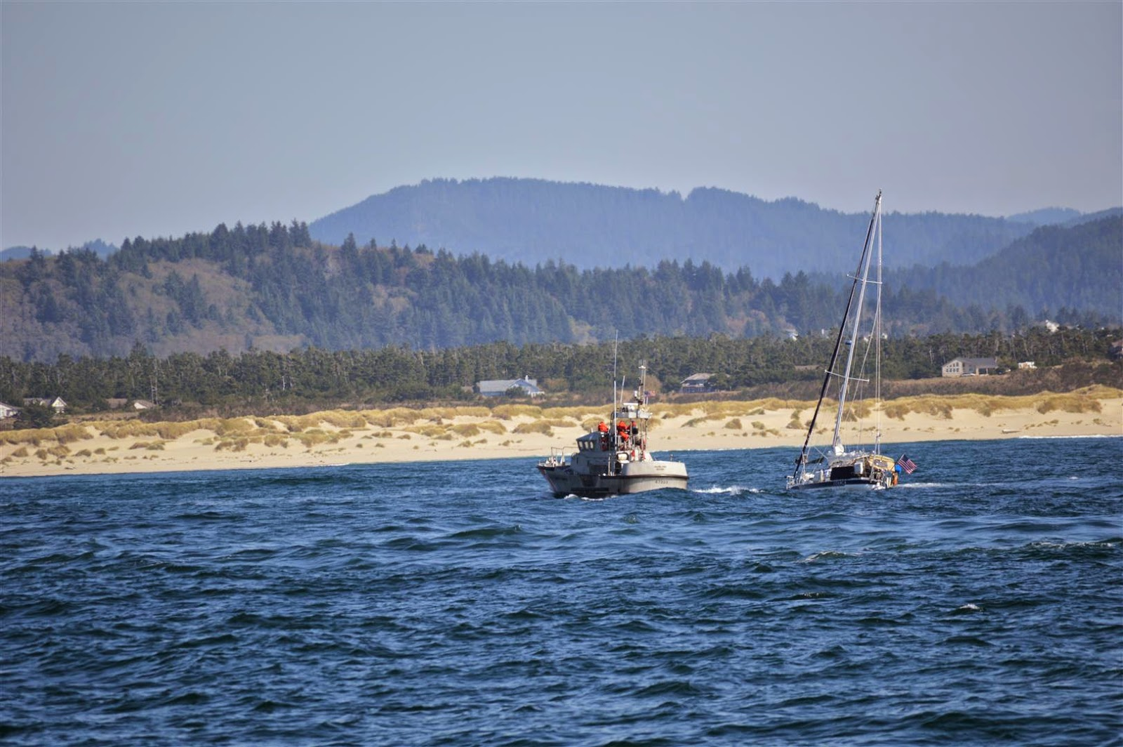 The Coast Guardes Out To Escort The Troubled Sailboat We Follow Them  Upriver All The Way To Florence That Makes It Easy!