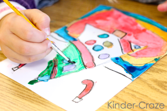 kindergarten christmas tree paintings… great parent gift idea