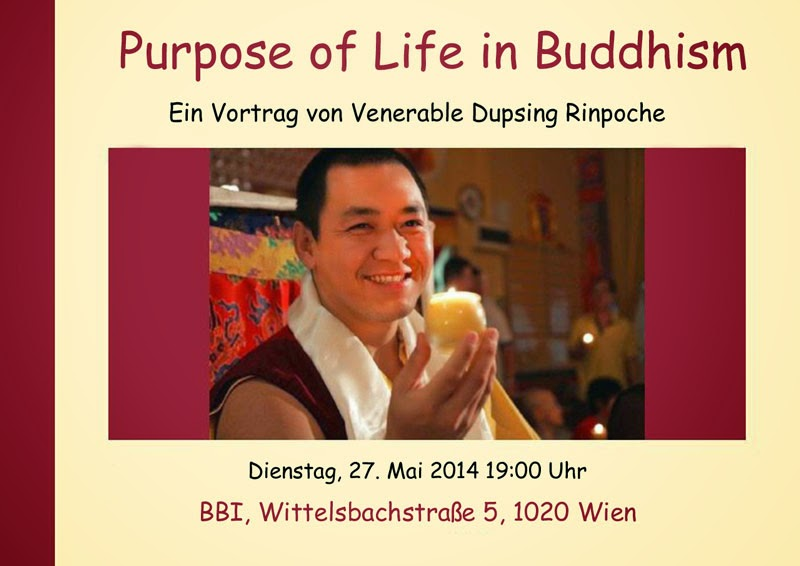 Flyer for a public talk by Dupsing Rinpoche on the Purpose of Life
