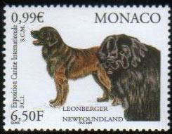 2001年モナコ公国 レオンベルガーとニューファンドランドの切手