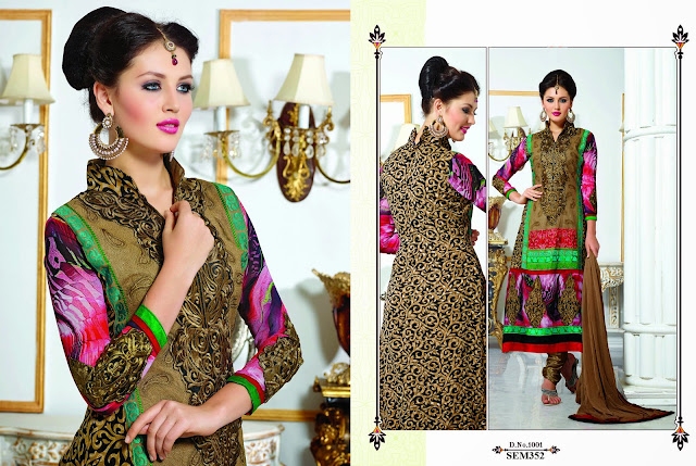 Buy Online Embroidered Georgette Butti Long Salwar Kameez