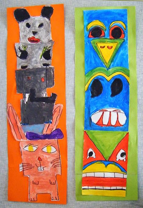 dessin et peinture  u00e0 l u0026 39  u00e9cole  totem  animaux stylis u00e9s