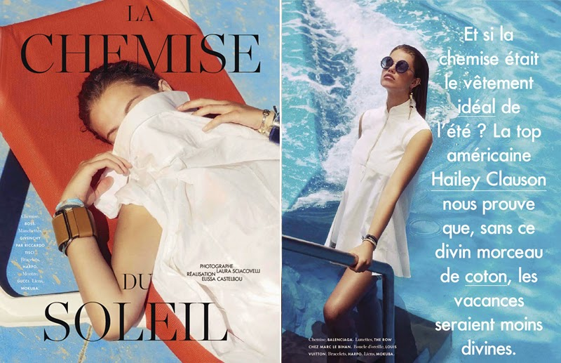 La Chemise Du Soleil: Hailey Clauson By Laura Sciacovelli For Elle France 18th July 2014