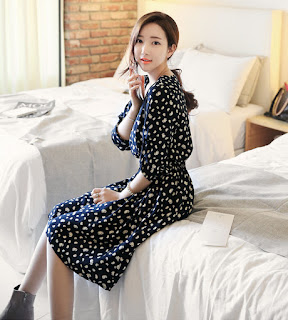Dress Korea Cantik Black Motif