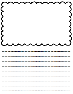 printable writing paper with lines and picture box